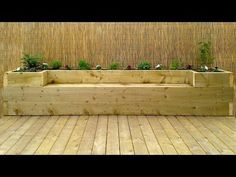 Softwood decking & raised bed – bench - All About Garden Deck Planters, Planter Bench, Raised Planter, Planter Boxes, Garden Bench Seat, Diy Garden Seating, Stone Raised Beds, Raised Flower Beds, Making Raised Garden Beds