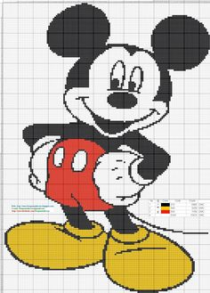 Mickey Mouse Cross Stitch Pattern - Punto de cruz 137 x 192 Puntos 3 colores DMC