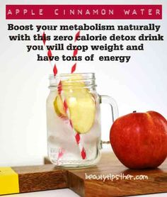 How to Make Detox Apple Cinnamon Metabolism Water - Zero Calorie Detox Drink - Natural Beauty Skin Care Detox Drinks, Healthy Drinks, Get Healthy, Healthy Life, Healthy Snacks, Healthy Living, Apple Cinnamon Water, Cinnamon Drink, Water Recipes