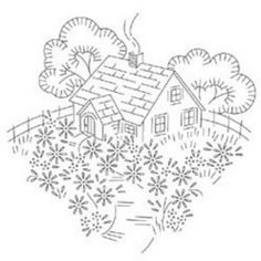 Yesteryear Embroideries: Embroidery Design To Share: country cottage