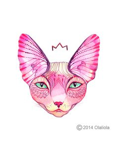 pink sphynx cat // SALE 3 for 2 // Cat water color by TevaKiwi, $18.00