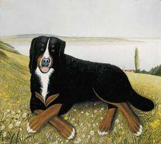 "Adolf Dietrich ""Balbo lying on the lawn"" 1955 George Grosz, Radler, Art Database, Naive Art, Page Design, Cow, Moose Art, Birds, Illustration"