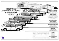 "Saab magazine ad, circa 1985. Bartender! Top shelf plz ;D haha The ""royal flush"" of Saab car ownership"