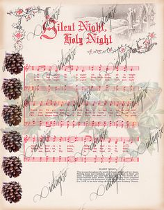 INSTANT DIGITAL DOWNLOAD Silent Night Printable Vintage Christmas Sheet Music for Cards, Tags, Scrapbook Paper, Fabric Transfer