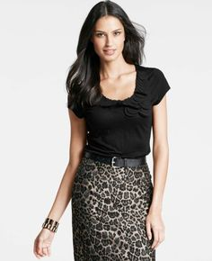 Petal Neck Short Sleeve Tee paired with a leopard print column skirt - At anntaylor.com