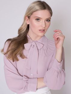 Dahlia Virginia Pink Crepe Blouse with Pleated Full Collar and Neck Tie