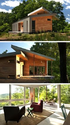 The Ridge House by GriD Architects in Berkeley Springs, West Virginia is a beautiful modern weekend home in the middle of nature. Architect House, Architect Design, Grid Architects, Dog Trot House, Berkeley Springs, Solar Solutions, Clerestory Windows, Passive Solar, Modern Homes