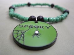 Green and Black Glass Bead Bracelet with by BeadazzlingButterfly, $10.00