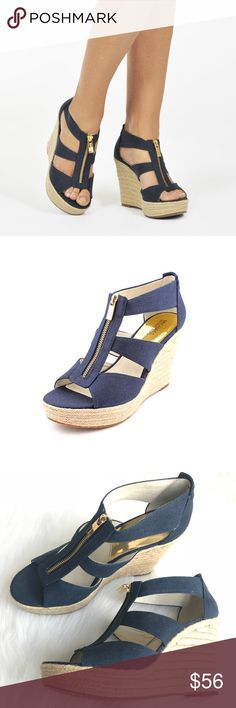 "NWOB Michael Kors Danita Navy Twine Wedge Sandals New without box Women's MICHAEL Michael Kors 'Damita' Open Toe Navy Wedged Sandals Sz 9.5M. Leather lining. Canvas upper. Zipper closure. Wedge measures 4.5"" and the platform on the front is 1"". Twine rope covered heel. These were bought new from Nordstrom but were never worn. MICHAEL Michael Kors Shoes Wedges"