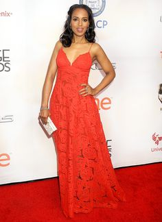 Kerry Washington was red-hot in a scarlet lace dress at the NAACP Image Awards in Pasadena on Feb. 6.