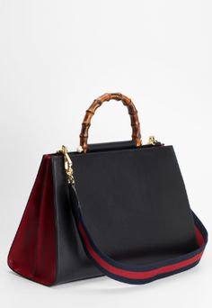 "Shop now. Gucci NYMPHEA handbag. Nymphea"" handbag Black and red calf leather Gold toned hardware One side gusset Microfiber lining with a suede-like finish One interior zip and one open pocket Bamboo handle with pearls Removable nylon shoulder strap Bamboo handle with pearls Made in Italy."