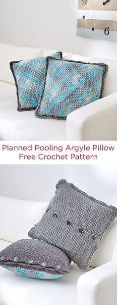 Planned Pooling Argyle Pillow Free Crochet Pattern in Red Heart Yarns -- Argyle pillows are an instant refresher for your living spaces. We have two variations, both with buttoned backs for easy wash-ability.