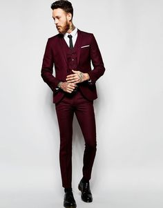 Men's Suits - Image 1 of Heart & Dagger Burgundy Suit in Birdseye Fabric in Super Skinny Fit - Pin İdeas Black Suit Wedding, Burgundy Wedding, Mens Wedding Style, Wedding Suits For Groom, Men Wedding Attire, Men Wedding Suits, Tuxedo Wedding, Mens Red Suit, Men Stuff
