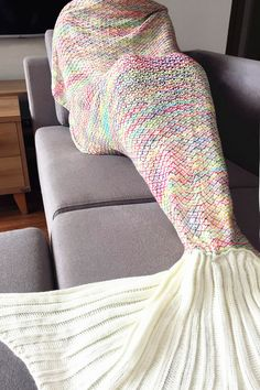 $21.02 Stylish Colorful Crochet Knitting Mermaid Tail Design Sleeping Blanket For Adult