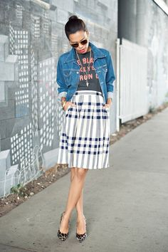 Fashion Street Style Denin Jacket with Plaid Skirt & G is for Graphic Tees - STYLE ME GRASIE #sstrendguide