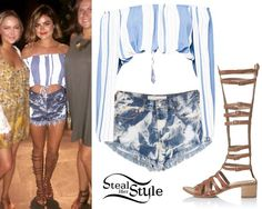 Lucy Hale posted a picture a week ago wearing a Cabo Stripe Top by Faitfull The Brand ($84.00), The Laundry Room Pistols Desert Cloud Shorts ($88.00) and a pair of Topshop North Strappy Gladiator Sandals ($85.00).