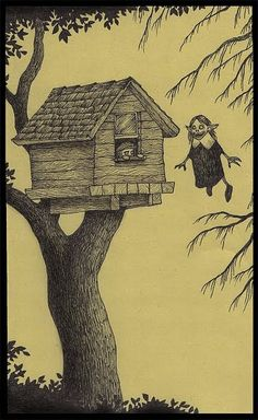 Don Kenn Post-it art - what Edward Gorey might do if he lived in 0ffice Max...
