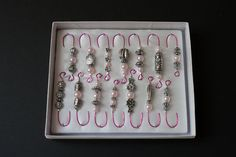 Antique Silver and Pink Pearl Beaded Ornament Hook Hangers - Pink Wire - FREE SHIPPING. $14.00, via Etsy.