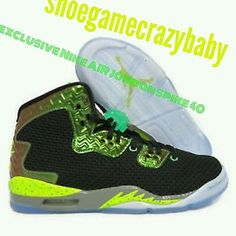 competitive price 02d96 dd569 NIKE AIR JORDAN SPIKE FORTY 811121-017 BLACK-GREEN SZ 7.5Y Retro Sneakers