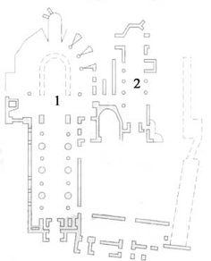 ABBAYE DE JUMIEGES (Seine-Maritime) 1- Eglise N-D, 2-EGLISE ST-PIERRE, 3) L'église St-Pierre, reliée à l'abbatiale Notre-Dame par le passage Charles VII, conserve d'intéressants vestiges de la période carolingienne: la façade et les deux 1° travées de la nef rythmées par des niches circulaires et des baies géminées.  Sur le mur sud on peut admirer une rare peinture carolingienne: une figure d'homme représenté en buste. Le reste de l'église St Pierre a été refait au 13°s