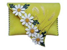Daisies lemon clutch Wheat leather bag Floral by spiculdegrau