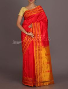 Fiery Red And Luscious Yellow Traditional Border Pure #NarayanpetSilkSaree