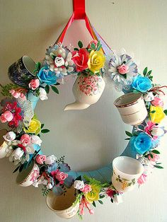 Teacup Wreath by Beth's Bagz, via Flickr