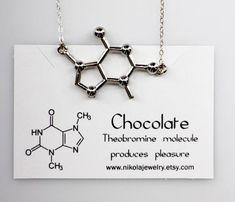 Chocolate Molecule Necklace in Gold or Silver Chemistry Necklace Theobromine Tea Necklace Biology Jewelry Chocolate and Tea Lovers Cute Jewelry, Jewelry Accessories, Jewelry Necklaces, Jewelry Design, Jewellery, Molecule Necklace, Pendant Necklace, Science Jewelry, Chocolate Gold