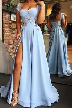 Buy Cap Sleeve Sweetheart A Line Side Slit Satin Blue Long Prom Dresses,Evening Dresses in uk.Rock one of the season's hottest looks in a burgundy homecoming dress or choose a timeless classic little black dress. Elegant Dresses For Women, Trendy Dresses, Sexy Dresses, Beautiful Dresses, Dress Outfits, Nice Dresses, Evening Dresses, Casual Dresses, Fashion Dresses