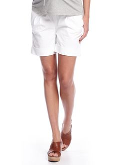 Queen Bee Cuffed Maternity Shorts in White by Supermom