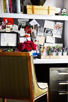 Peter Som's home office with fashionable postings and gorgeous flowers // the home of fashion designer Peter Som