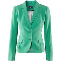 H&M Jacket (£25) ❤ liked on Polyvore featuring outerwear, jackets, blazers, tops, women, green blazer, green blazer jacket, pocket jacket, h&m jackets and fleece-lined jackets