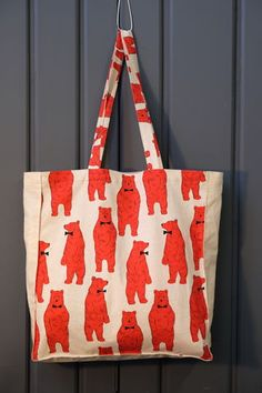 Polar Bear Tote Bag White Red Print