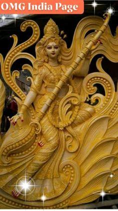 Saraswati Puja Pandal, Saraswati Murti, Durga Ji, Saraswati Statue, Saraswati Goddess, Kali Goddess, Durga Images, Radha Krishna Images, Maa Durga Image