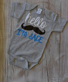 baa657477 Items similar to Baby Boy Bodysuit Mustache Personalized .Perfect for Baby  Photo Shoot and baby Shower gift. on Etsy. Baby Coming Home OutfitBoy ...