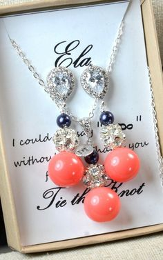 Hey, I found this really awesome Etsy listing at https://www.etsy.com/listing/196432352/navy-blue-coral-wedding-jewelry