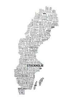 Bild - Sverige karta, 60x80 cm