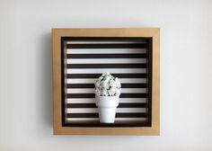 Gold, black and white striped square wall frame decor- mini flower pot shadow box art Frame Wall Decor, Frames On Wall, Wall Art Decor, White Shadow Box, Shadow Box Art, Flower Pots, Flower Wall, Kitchen Wall Art, Window Wall