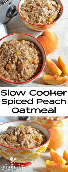Slow Cooker Spiced Peach Oatmeal from My Fearless Kitchen. If you love oatmeal, peaches, or pumpkin spice, you will love this recipe for Slow Cooker Spiced Peach Oatmeal! Enjoy a hot breakfast as soon (Vegan Oatmeal Slow Cooker) Slow Cooker Breakfast, Breakfast Crockpot Recipes, Oatmeal Recipes, Brunch Recipes, Slow Cooker Recipes, Gourmet Recipes, Breakfast Casserole, Peach Recipes Breakfast, Oatmeal Slow Cooker
