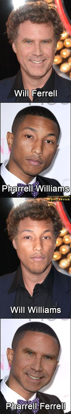 Will the real Ferrell/Pharrell please stand up? #willferrell #pharrellwilliams #funny #celebrities More at ▀▄▀ Clean Funny Pics & Humor | Sanitaryum.com ▀▄▀
