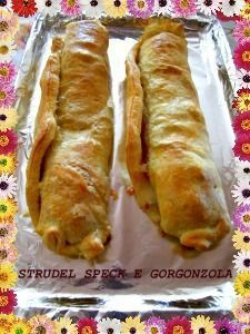 Strudel con speck e gorgonzola Quiche, Strudel, No Salt Recipes, Cooking Recipes, Pizza Rustica, Antipasto, Easy Homemade Recipes, Appetisers, Brunch