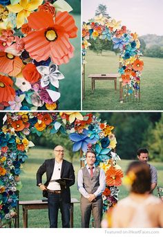 DIY Cardstock Flowers Photography Backdrop Idea featured on I Heart Faces Photography Blog