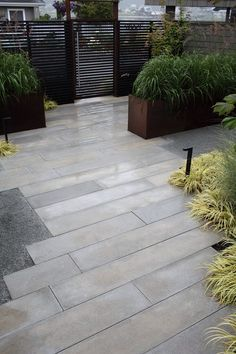 Cast your own pavers for an unusual shape. This looks like a plank floor.