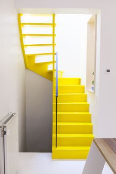 Stairs aren't appropriate for wheelchairs and other vehicles. Hence, you have to be clear even though choosing the form of Metal Stair Steps to use. Space Metal Stair Steps The vent of the home is different factor which ought to… Continue Reading → Metal Stairs, Modern Stairs, Casa Retro, Yellow Home Decor, Interior Architecture, Interior Design, Stair Steps, Style Deco, Spiral Staircase