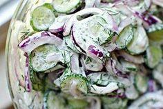 Cucumber Salad with Sour Cream Dill Dressing Simply Scratch - Tofu Bowl Rezepte Cucumber Dill Salad, Creamy Cucumbers, Cucumber Recipes, Veggie Recipes, Salad Recipes, Cooking Recipes, Vegetarian Recipes, Dill Dressing, Dressing Recipe