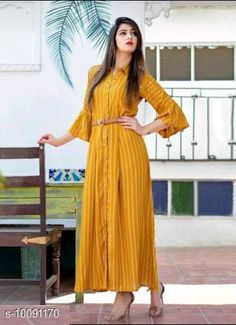 Dresses Classy Women Gown Fabric: Crepe Sleeve Length: Three-Quarter Sleeves Pattern: Printed Multipack: 1 Sizes: S (Bust Size: 36 in Length Size: 52 in)  XL (Bust Size: 42 in Length Size: 52 in)  L (Bust Size: 40 in Length Size: 52 in)  M (Bust Size: 38 in Length Size: 52 in)  XXL (Bust Size: 44 in Length Size: 52 in)  XXXL (Bust Size: 46 in Length Size: 52 in)  Country of Origin: India Sizes Available: S, M, L, XL, XXL, XXXL   Catalog Rating: ★4 (571)  Catalog Name: Trendy Feminine Women Dresses CatalogID_1807830 C79-SC1025 Code: 584-10091170-8421