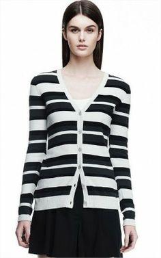 332f9ad54b Sweater Armani Exchange Women s Striped Cardigan Black Combo D5W191IN  Armani  Exchange Sweater