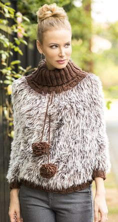 Free Knitting Pattern for On the Prowl Poncho - This fun fur poncho from Universal Yarn  features a ribbed collar. Small (Medium, Large, 1X, 2X, 3X)