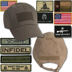 Tactical hats with velcro and patches