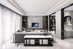 首发 | 220 m² 顶级合院 ,高级灰演绎宁静朴质的心灵归宿 Tv Wall Design, Condo Design, Ceiling Design, House Design, Living Room Interior, Home Living Room, Living Area, Living Room Designs, Hotel Inspired Bedroom